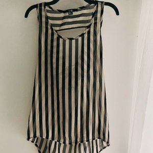 Forever 21 Striped Sheer Flowy Top with Open Back